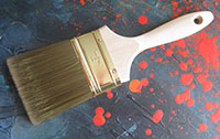 Paint Brush and Paint Spatter with Paint Additive