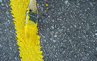 Yellow Strip Being Painted with Latex Paint Additive