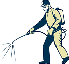 Man with back back sprayer graphic